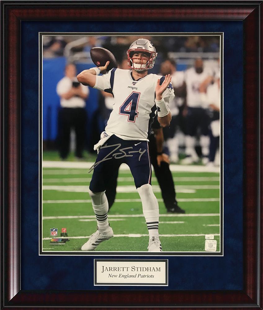 Jarrett Stidham Autograph Photo Holding Ball Framed 20x24 New England Picture