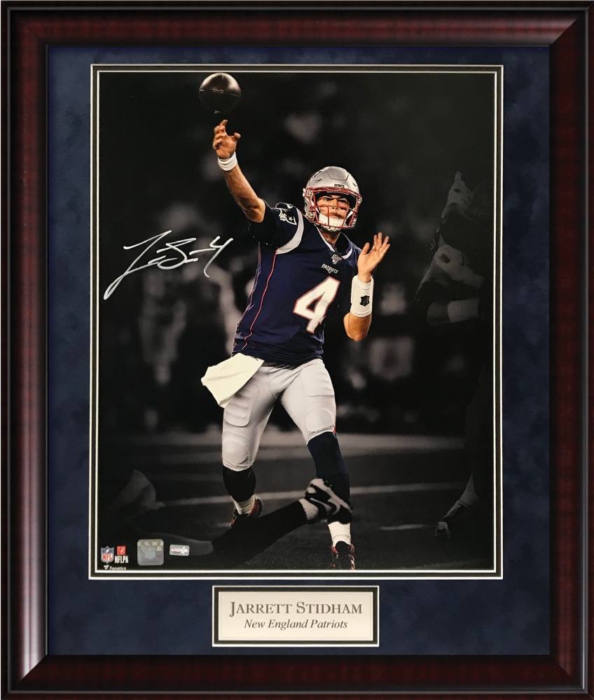 Jarrett Stidham Autograph Photo Throw Blacked Out 20x24 New England Picture
