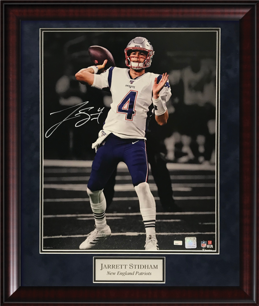 Jarrett Stidham Autograph Photo To Throw Blacked Out 20x24 New England Picture