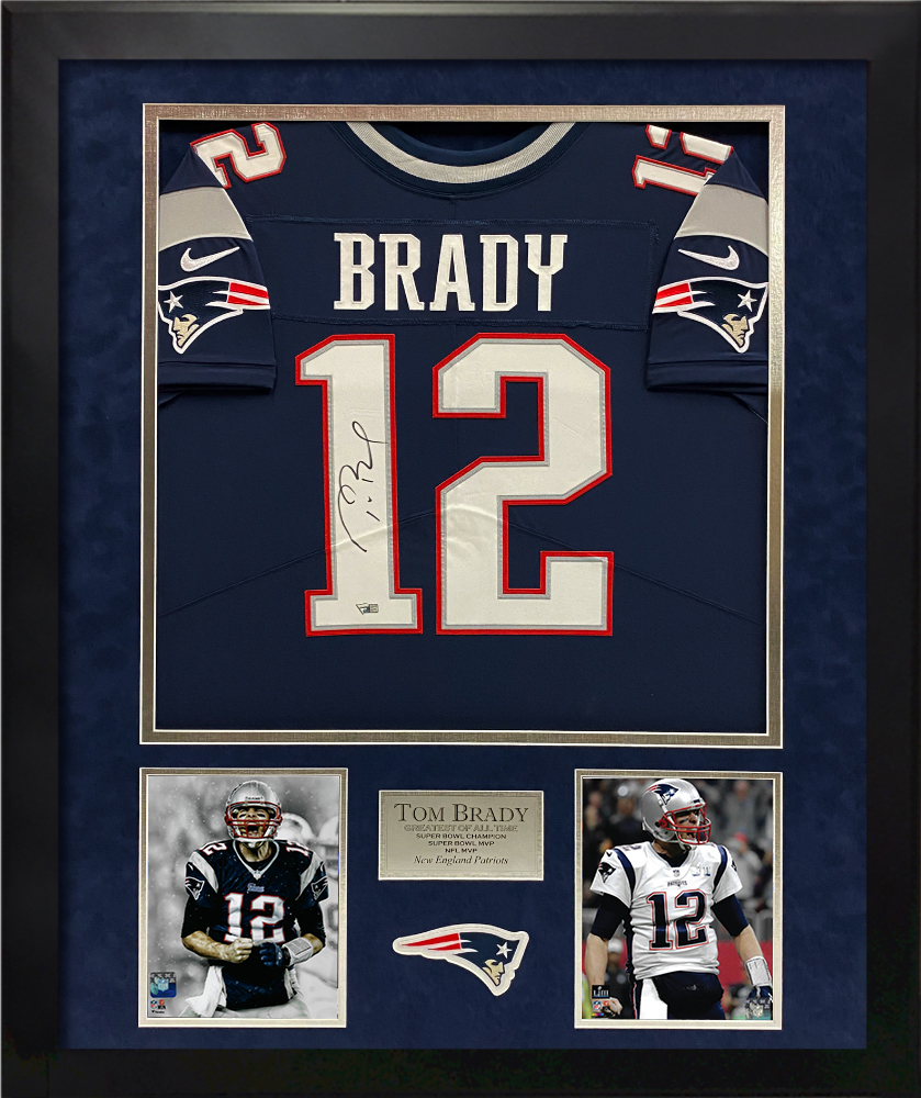 Tom Brady Autograph Jersey New England Patriots Blue Framed 32x40
