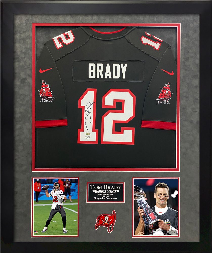 Tom Brady Autograph Jersey Tampa Bay Buccaneers Pewter Framed 32x40